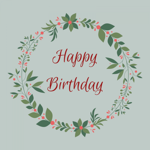 Happy Birthday Card with Floral Pattern