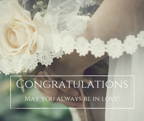 Congratulations. May you always be in love!