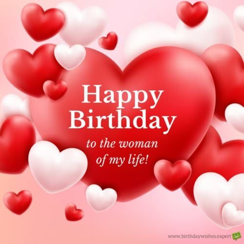 Happy Birthday wish for wife on romantic red background with hearts
