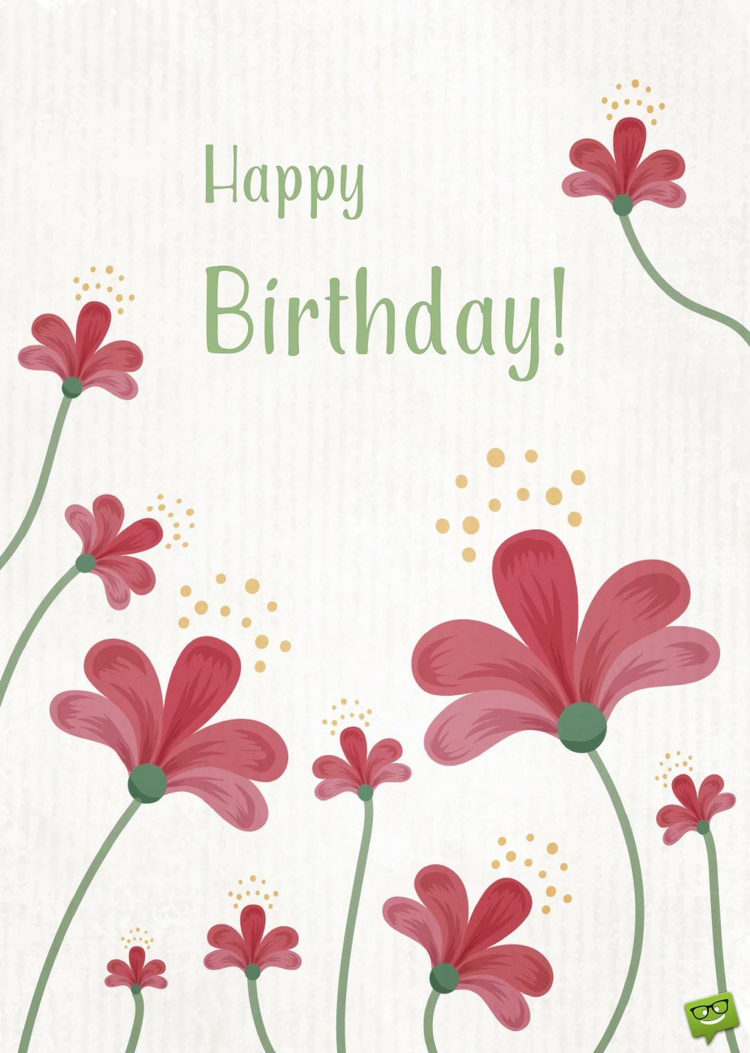 Happy Birthday Wish With Cute Red Flowers Blogdescrpition