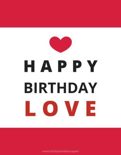 Romantic birthday wish for my love on modern minimalist background