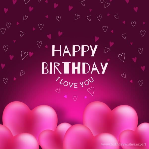 Romantic wish for my wife on her birthday. Background with pink hearts