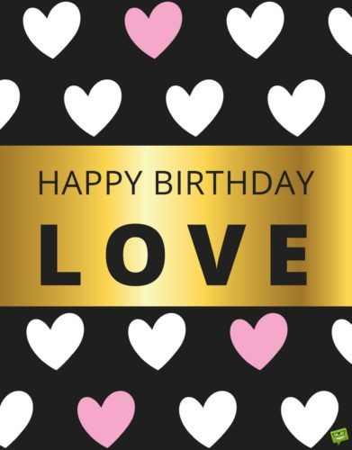 Romantic birthday wish for loving wife on golden background