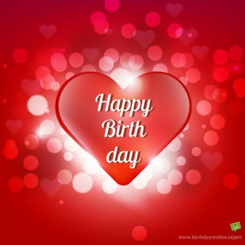 Romantic birthday wish for wife on red background with heart