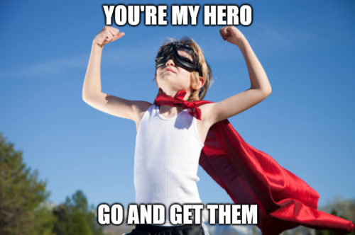 Hero kid Good Luck meme.