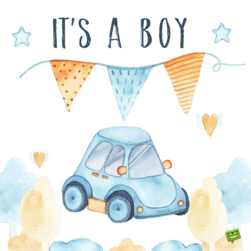 """""""It's a boy"""" image to help you announce the arrival of the new family member."""