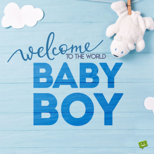 Baby boy wish on cute image to use on chats, emails and posts to announce the arrival of your new baby.