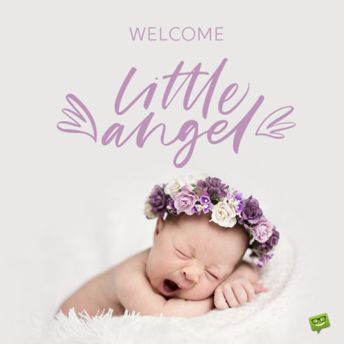 Baby girl wish on photo with new born baby.