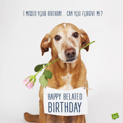 Cute belated birthday wish on image for use on chats, messages, mails and social media.