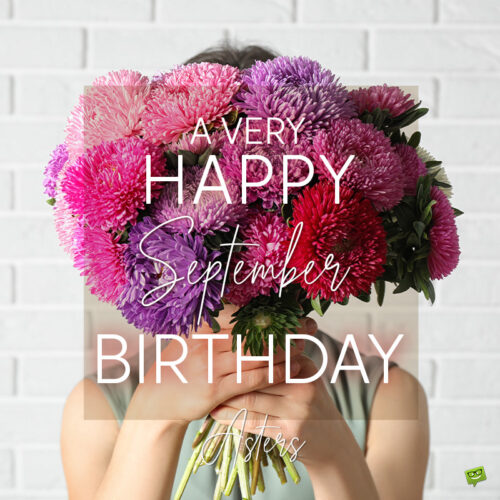 Birthday wish on image with asters for those born in September.
