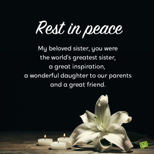 Text for eulogy or funeral speech for sister.