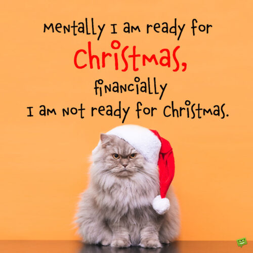 Funny Christmas quote on image with cat wearing a Santa hat.