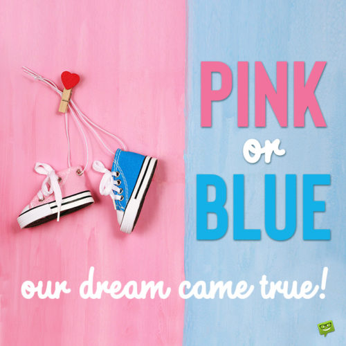 Cute gender reveal quote on image for easy sharing.