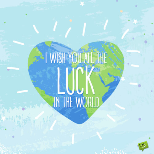 Cute good luck image for interview.