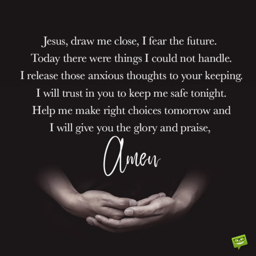 Good night prayer on image to help find the right words.