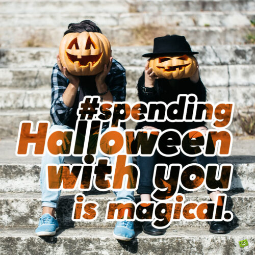 Halloween caption for couples.