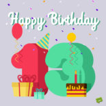 Birthday image for 13th birthday to use on a message, email, chat or social media.