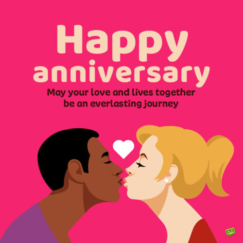 Wish for wedding anniversary on image with illustration of couple.