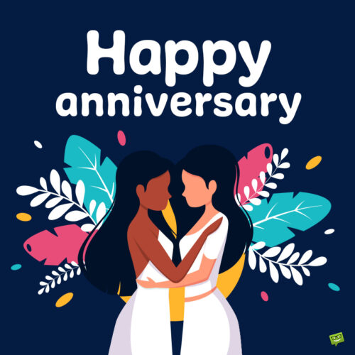 Happy Anniversary image for a couple of girls.