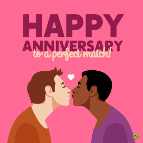 Anniversary image for gay couple.
