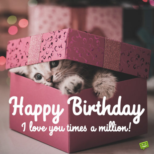 Birthday image with cute kitten for best friend.