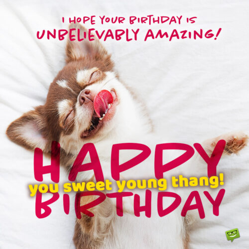 funny birthday message on image with cute dog.