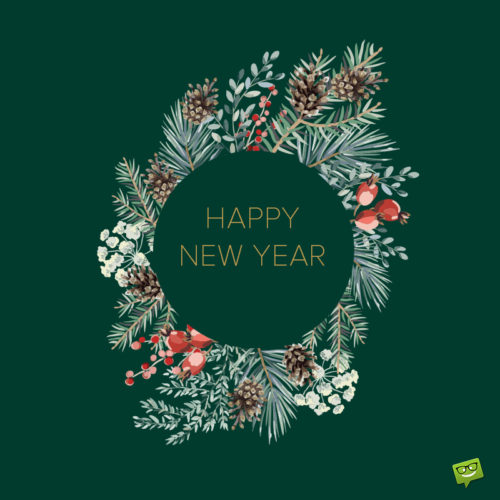 Happy New Year image with flower wreath.