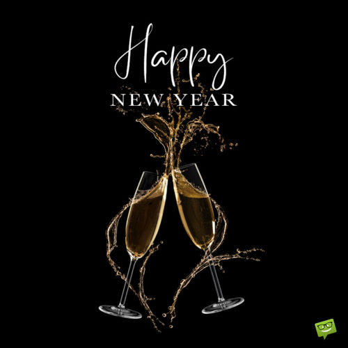 Happy New Year wish on image for easy sharing on chats and messages.