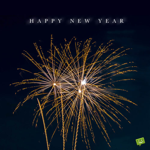 Happy New Year wish on image for easy sharing on chats, messages, emails and status updates.