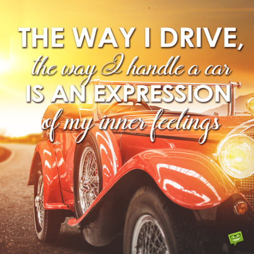 Vintage car image with love my car quote.