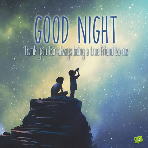 Good night message on image to send to a friend.