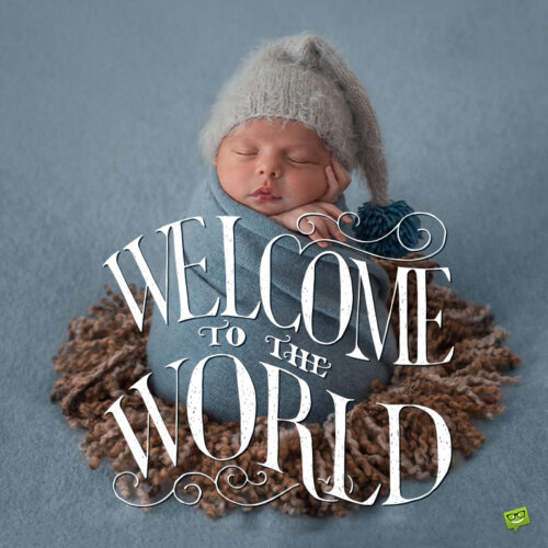 New born baby status update on image to share.