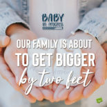 Pregnancy announcement quote on image for easy sharing.