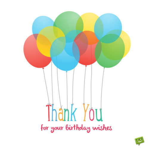 Image with balloons to use as thank you note on messages and social media.