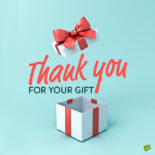 Note on image to help you say thank you for gift.