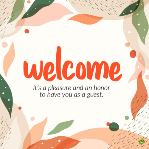 Welcome message for guest.