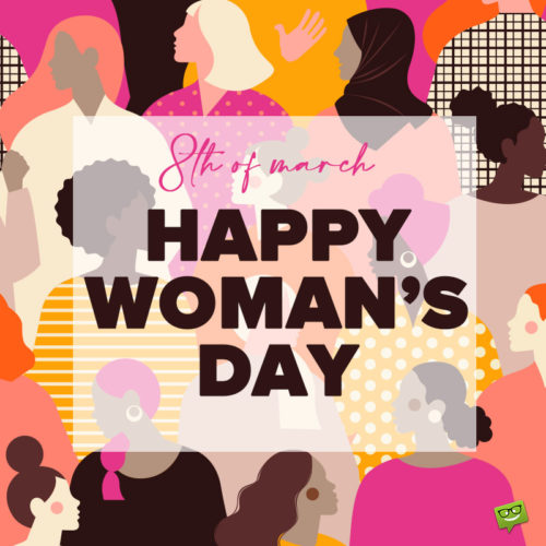 Happy Women's day image for sharing on messages and social media.