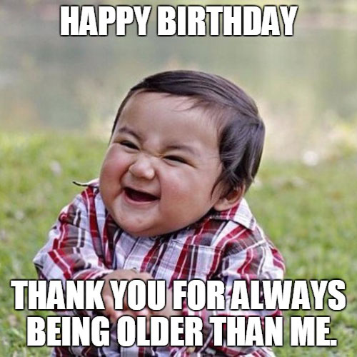 Funny birthday meme with evil child