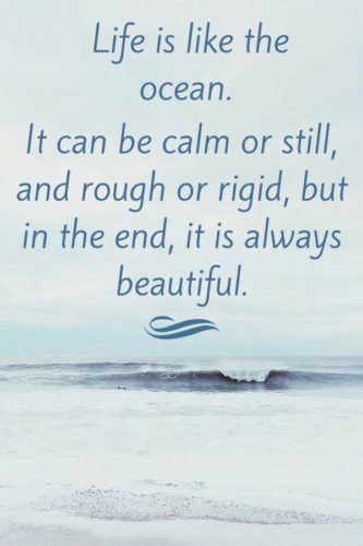 Life is like the ocean. It can be calm or still, and rough or rigid, but in the end, it is always beautiful.