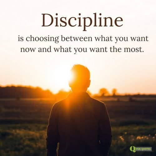Discipline is choosing between what you want now and what you want the most.
