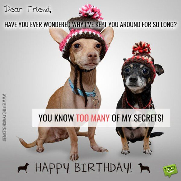 Dear friend, have you ever wondered why I've kept you around for so long? You know too many of my secrets! Happy Birthday!