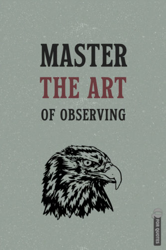 Master the art of observing.