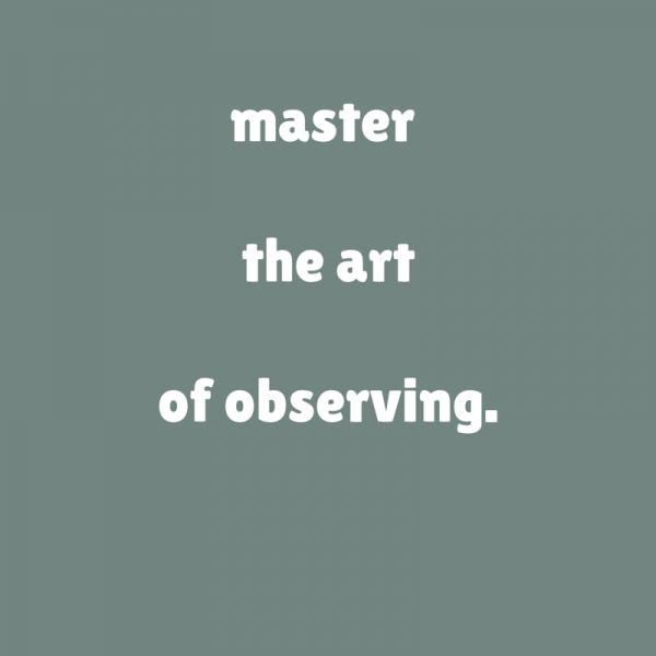 Master the art of observing