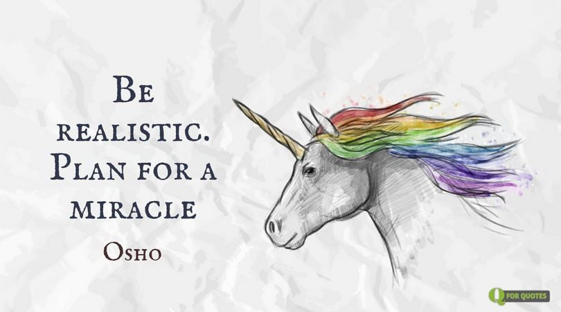 Be realistic. Plan for a miracle. Osho.