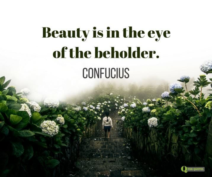 Beauty is in the eye of the beholder. Confucius.