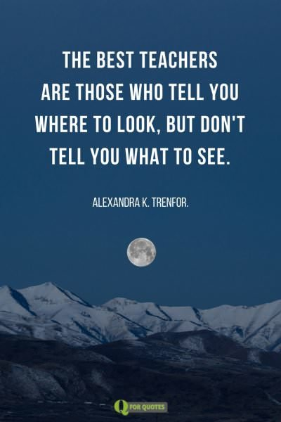 The best teachers are those who tell you where to look, but don't tell you what to see. Alexandra K. Trenfor.