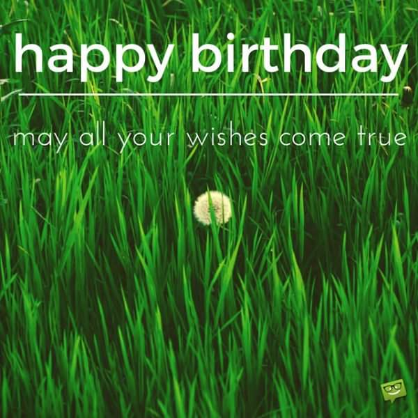 Happy Birthday! May all your wishes come true.