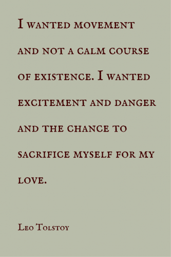 I wanted movement and not a calm course of existence. I wanted excitement and danger and the chance to sacrifice myself for my love.