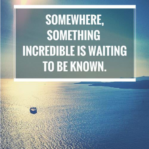 Somewhere, something incredible is waiting to be know.