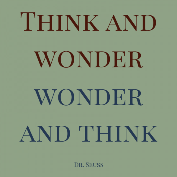 Think and wonder. Wonder and think. Dr. Seuss.